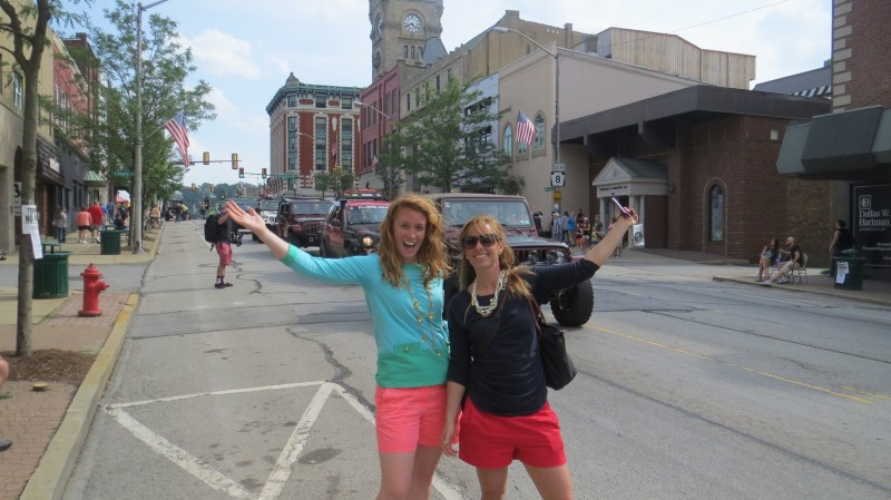 Ashley and Brittany at the Bantam Jeep Heritage Festival Parade in Butler, PA