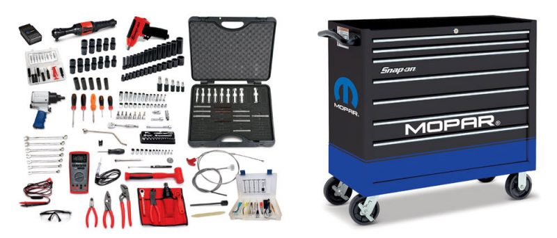 The Mopar Student Tool Kit includes hand tools, electronic diagnostic tools and a specially wrapped tool box.
