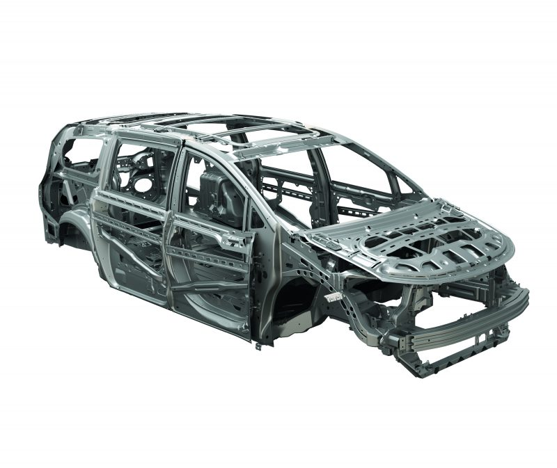 Higher-strength steels in the 2017 Chrysler Pacifica's body structure account for most of its weight reduction.