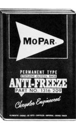 Mopar -- a contraction of Motor and Parts -- all started with a can of engine anti-freeze on Aug. 1, 1937.