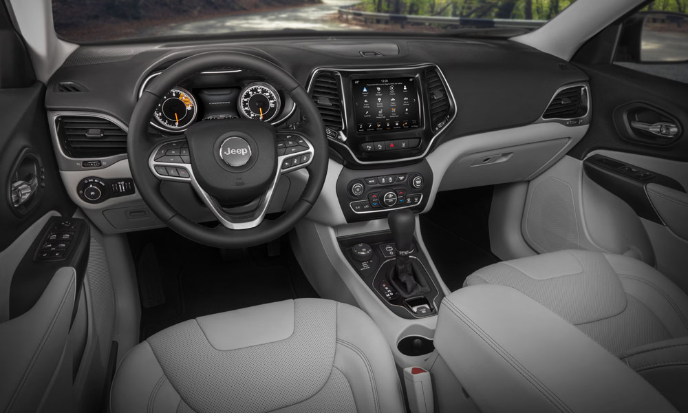 The interior of the 2019 Jeep Cherokee, debuting at the 2018 North American International Auto Show in Detroit.